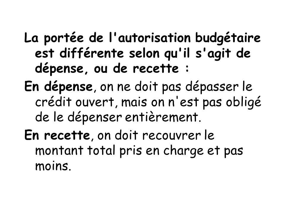 La portée de l'autorisation budgétaire est différente selon qu'il s'agit de dépense, ou de recette : En dépense, on ne doit pas dépasser le crédit ouv