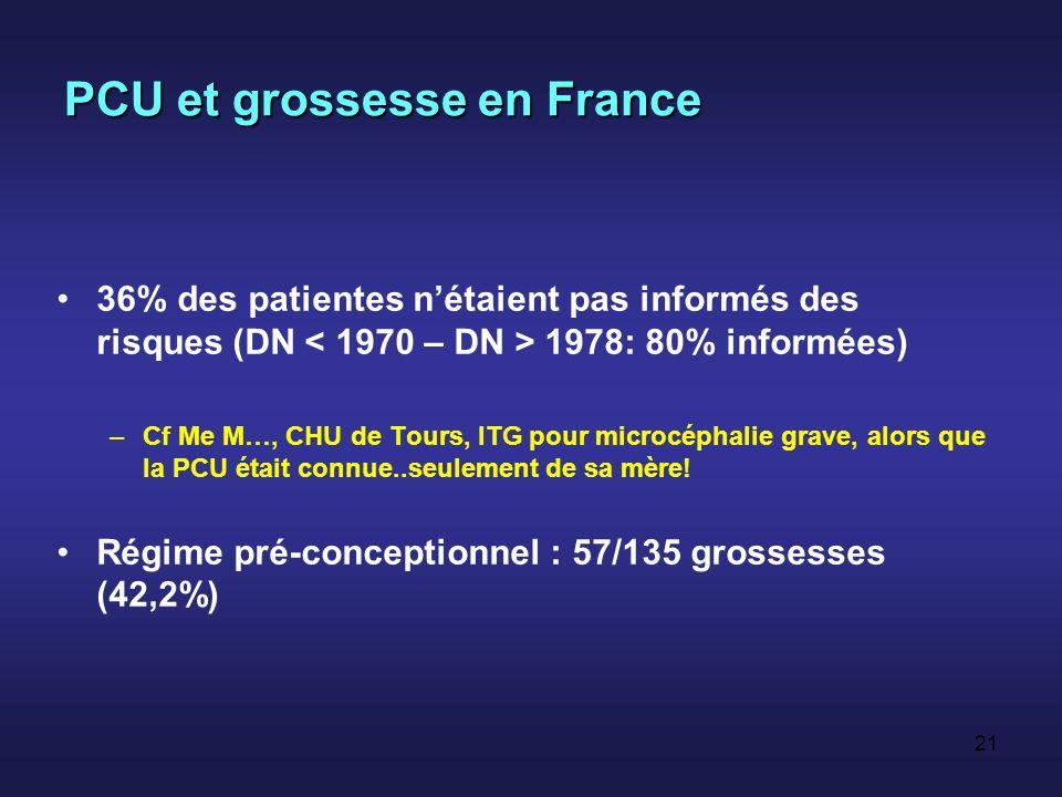 20 PCU et grossesse en France Etude rétrospective de 135 grossesses (2001) * –79 patientes –Diagnostic: 74% par dépistage NN, 18% enfance, 8% après embryopathie (un cas de ce type observé à Tours) –73% avec PCU classique Feillet et al., Eur J Pediatr 2004