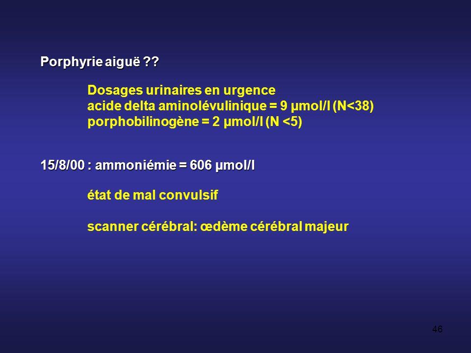 45 14/8/00 : aggravation coma réanimation, intubation coma calme ; CGS = 6/15 pas de fièvre IRM en urgence normale Interrogatoire de la famille : cousine décédée 3 ans plus tôt, dans des circonstances identiques au cas actuel +++ Cause métabolique rare ?.