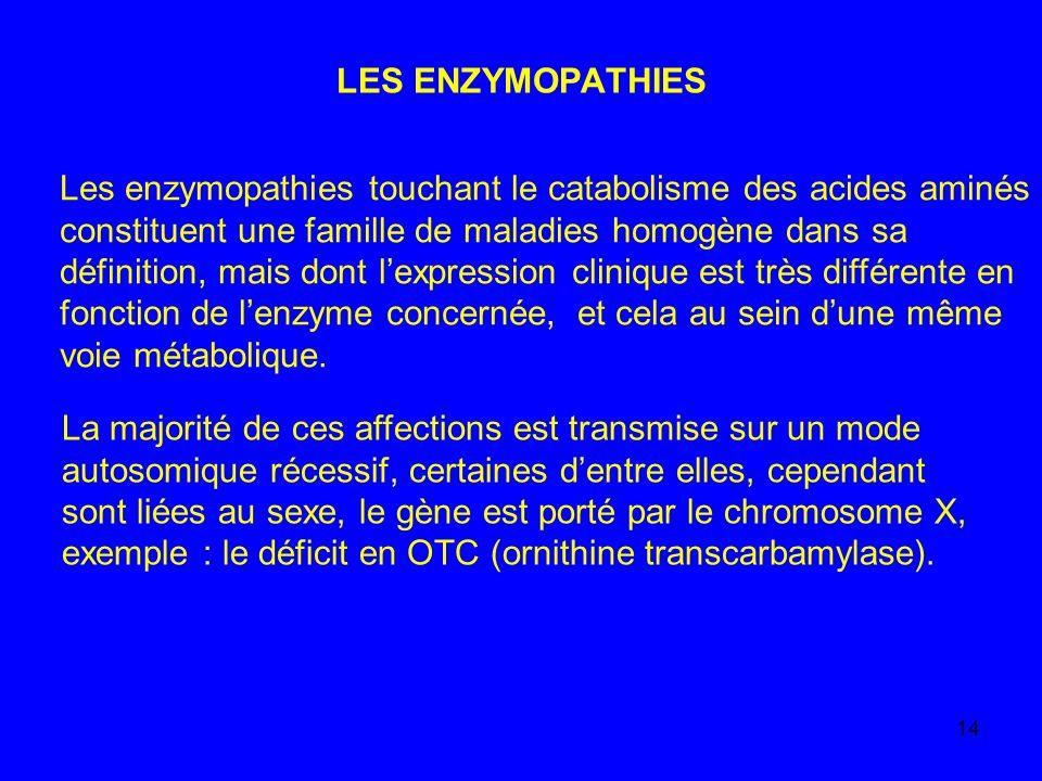 14 LES ENZYMOPATHIES Les enzymopathies touchant le catabolisme des acides aminés constituent une famille de maladies homogène dans sa définition, mais