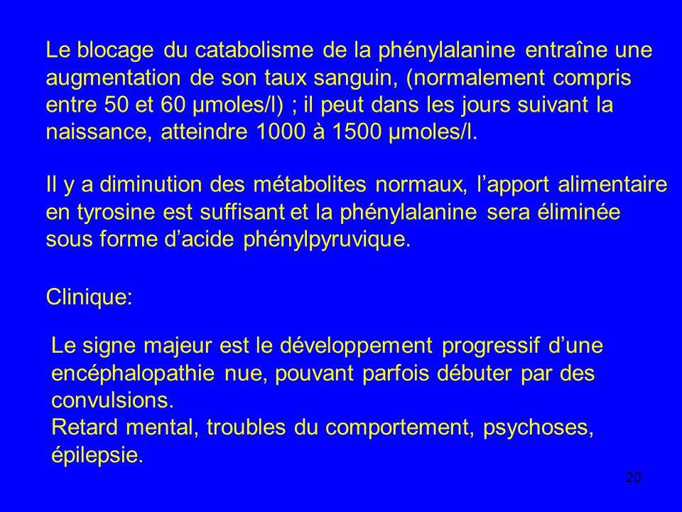 20 Le blocage du catabolisme de la phénylalanine entraîne une augmentation de son taux sanguin, (normalement compris entre 50 et 60 µmoles/l) ; il peu