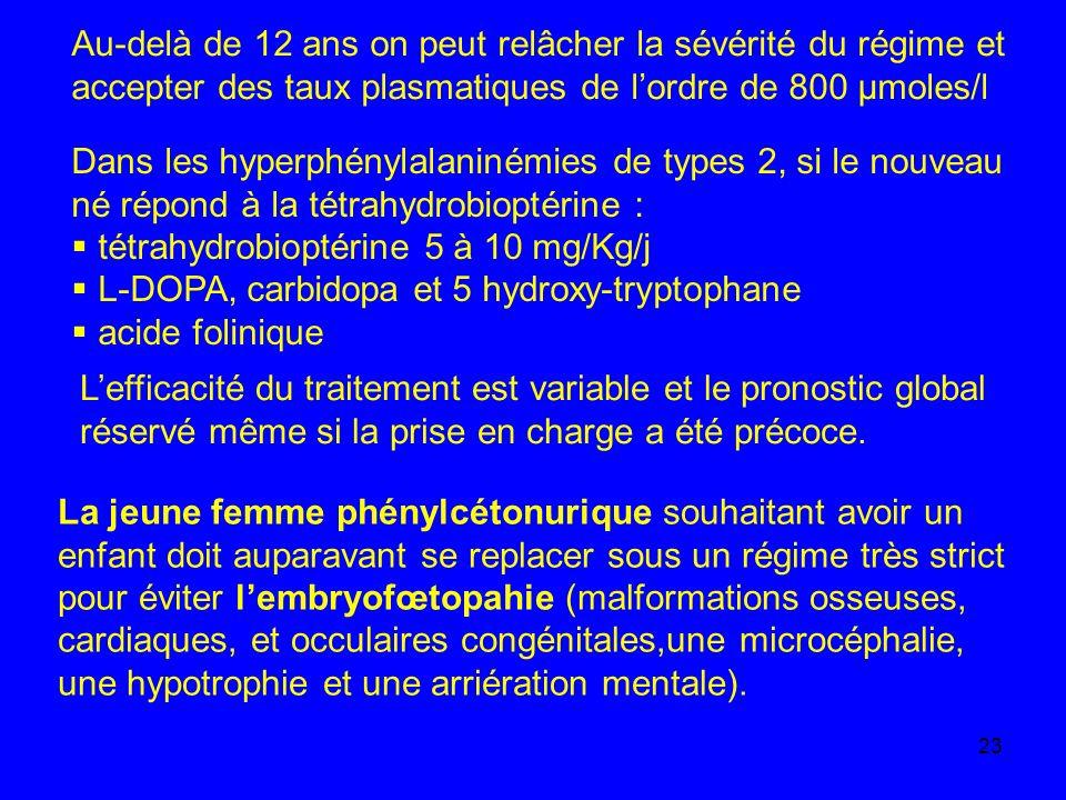 23 Au-delà de 12 ans on peut relâcher la sévérité du régime et accepter des taux plasmatiques de lordre de 800 µmoles/l Dans les hyperphénylalaninémie