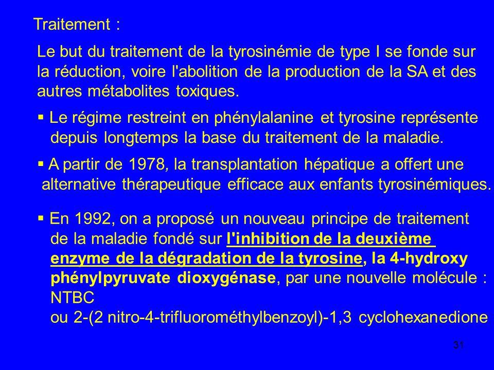 31 Traitement : Le but du traitement de la tyrosinémie de type I se fonde sur la réduction, voire l'abolition de la production de la SA et des autres