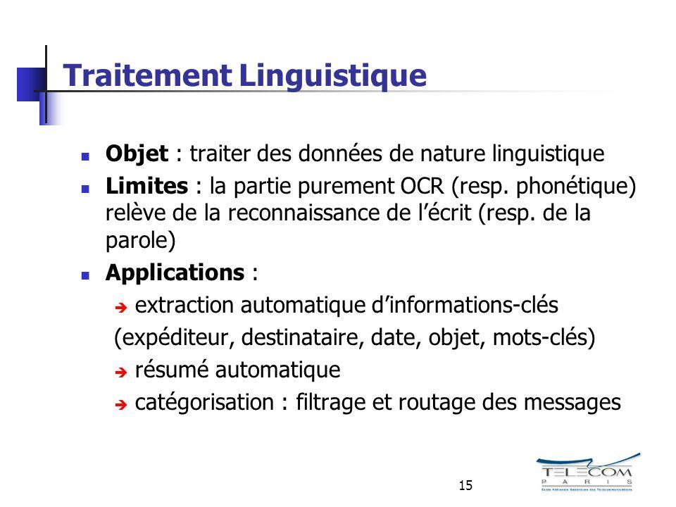 15 Traitement Linguistique Objet : traiter des données de nature linguistique Limites : la partie purement OCR (resp.