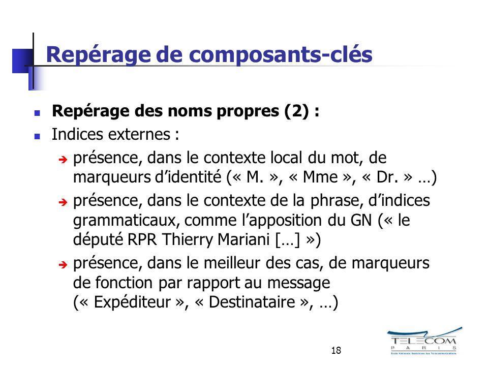 18 Repérage de composants-clés Repérage des noms propres (2) : Indices externes : présence, dans le contexte local du mot, de marqueurs didentité (« M.