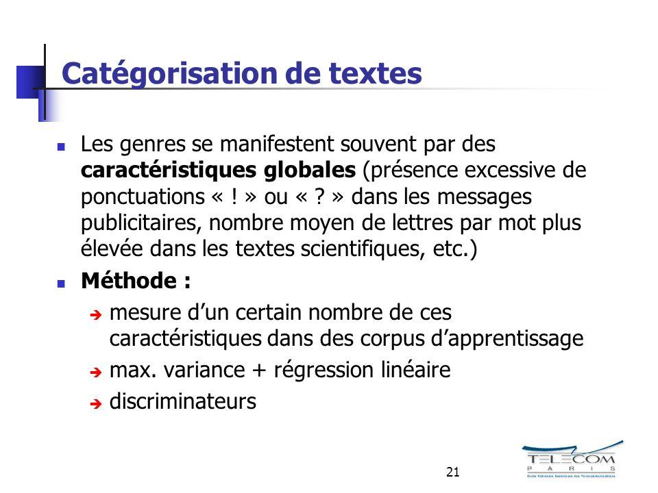 21 Catégorisation de textes Les genres se manifestent souvent par des caractéristiques globales (présence excessive de ponctuations « .