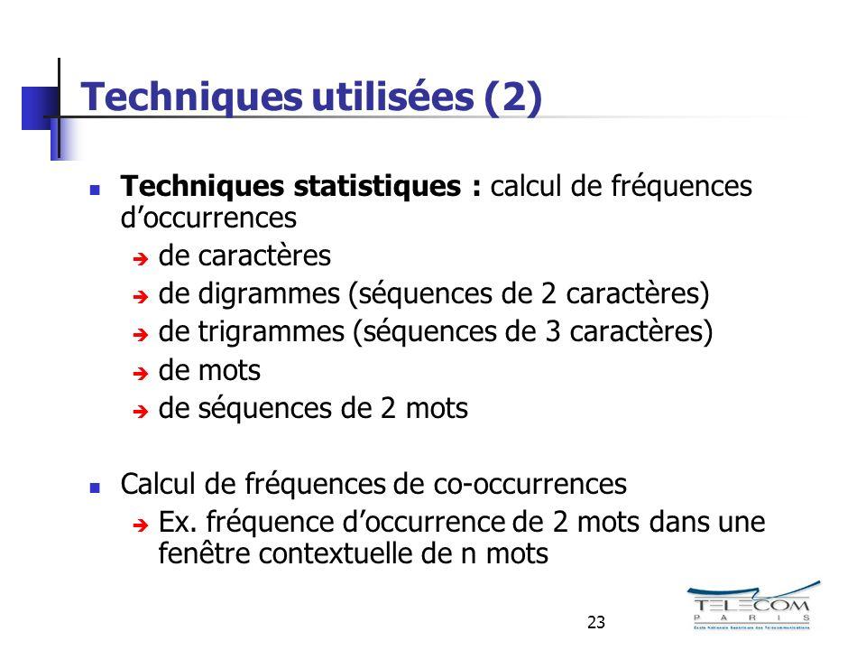 23 Techniques utilisées (2) Techniques statistiques : calcul de fréquences doccurrences de caractères de digrammes (séquences de 2 caractères) de trigrammes (séquences de 3 caractères) de mots de séquences de 2 mots Calcul de fréquences de co-occurrences Ex.