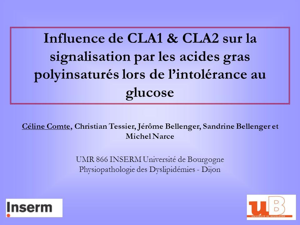 Influence de CLA1 & CLA2 sur la signalisation par les acides gras polyinsaturés lors de lintolérance au glucose Céline Comte, Christian Tessier, Jérôm