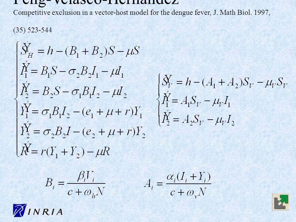 Feng-Velasco-Hernandez Competitive exclusion in a vector-host model for the dengue fever, J. Math Biol. 1997, (35) 523-544