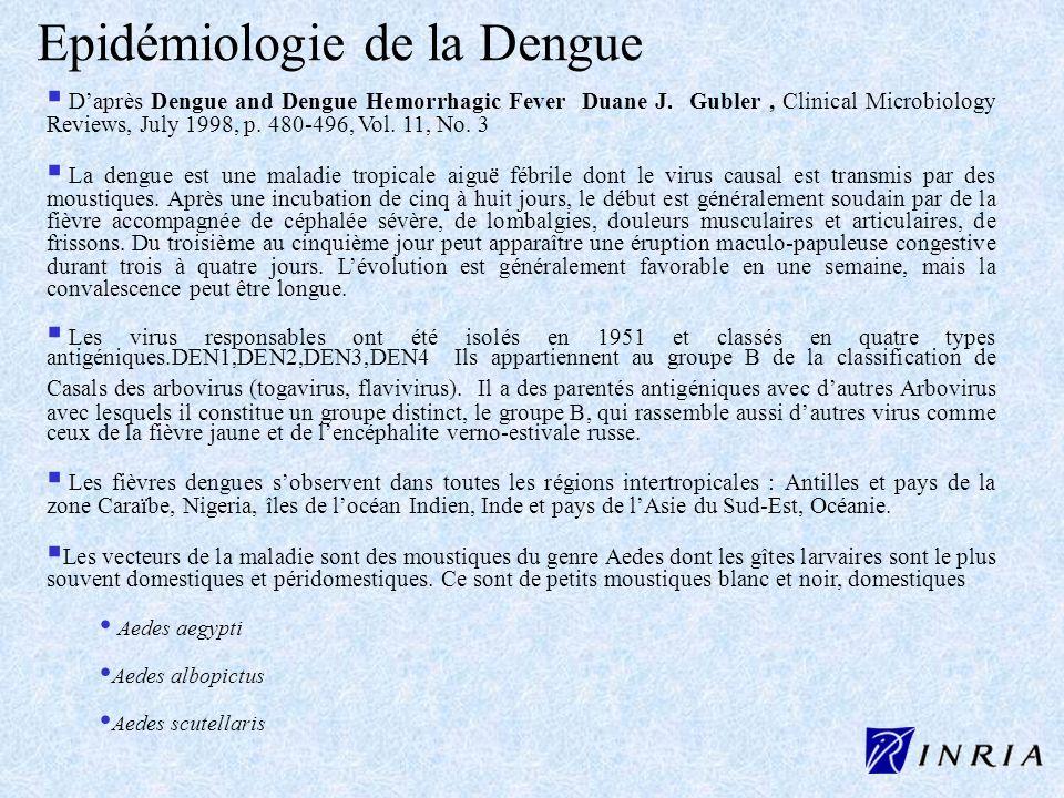 Epidémiologie de la Dengue Daprès Dengue and Dengue Hemorrhagic Fever Duane J. Gubler, Clinical Microbiology Reviews, July 1998, p. 480-496, Vol. 11,