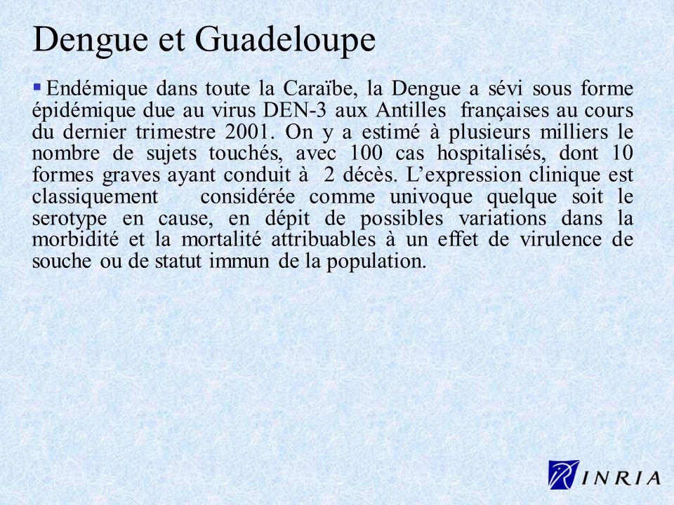 Dengue et Guadeloupe Endémique dans toute la Caraïbe, la Dengue a sévi sous forme épidémique due au virus DEN-3 aux Antilles françaises au cours du de