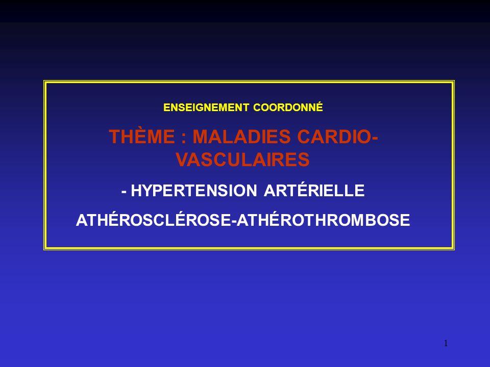 1 ENSEIGNEMENT COORDONNÉ THÈME : MALADIES CARDIO- VASCULAIRES - HYPERTENSION ARTÉRIELLE ATHÉROSCLÉROSE-ATHÉROTHROMBOSE