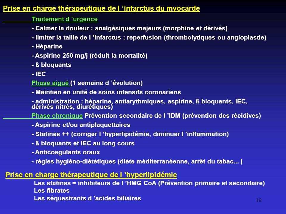 19 Prise en charge thérapeutique de l infarctus du myocarde Traitement d urgence - Calmer la douleur : analgésiques majeurs (morphine et dérivés) - li