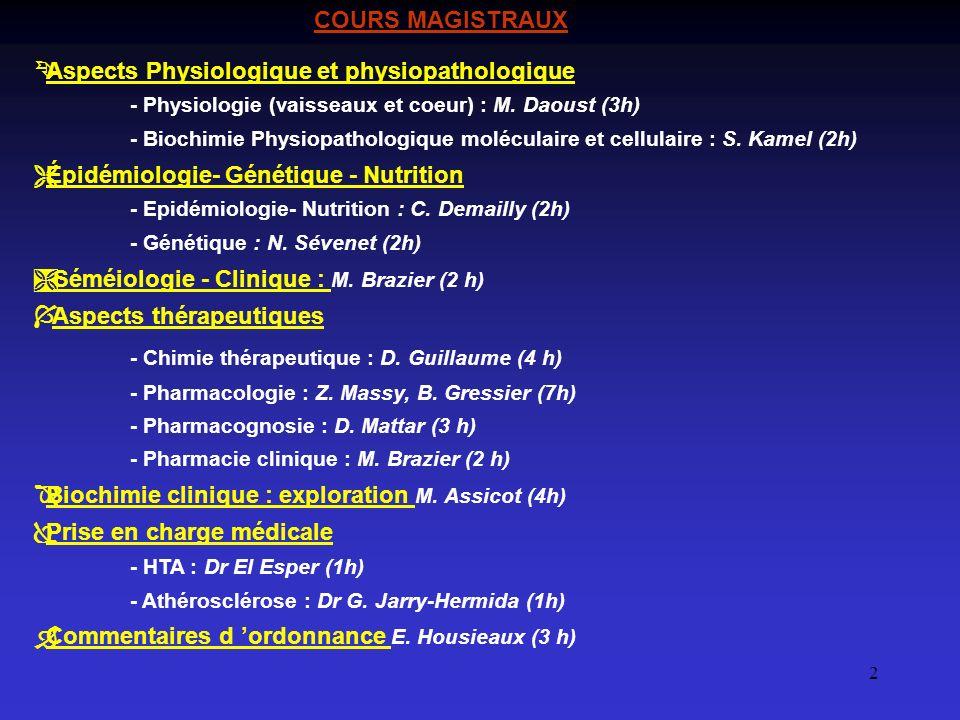 2 ÊAspects Physiologique et physiopathologique - Physiologie (vaisseaux et coeur) : M. Daoust (3h) - Biochimie Physiopathologique moléculaire et cellu