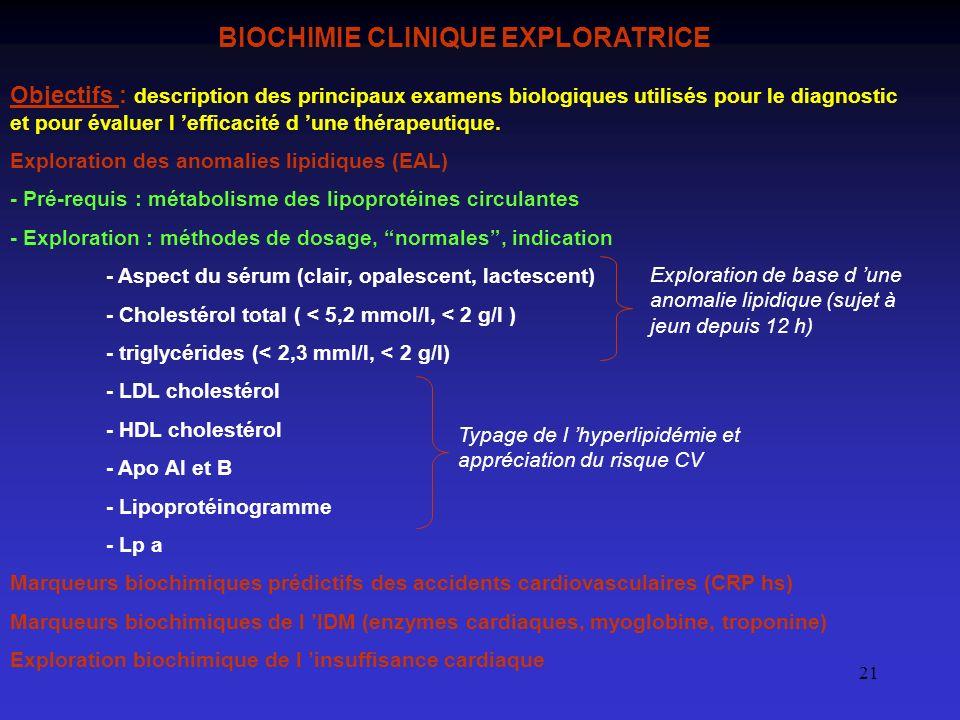 21 BIOCHIMIE CLINIQUE EXPLORATRICE Objectifs : description des principaux examens biologiques utilisés pour le diagnostic et pour évaluer l efficacité