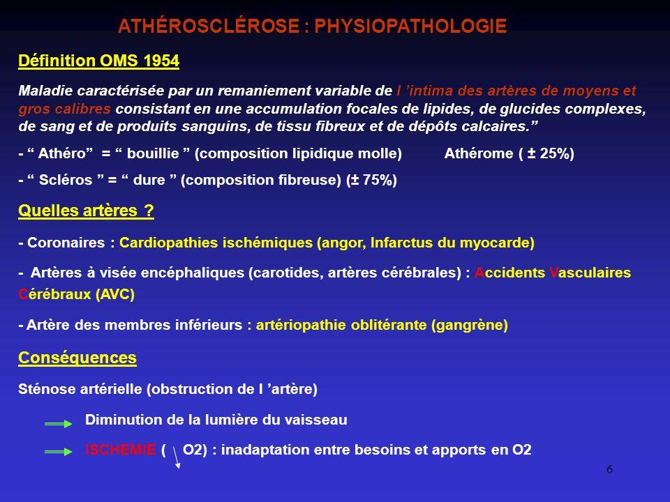 6 ATHÉROSCLÉROSE : PHYSIOPATHOLOGIE Définition OMS 1954 Maladie caractérisée par un remaniement variable de l intima des artères de moyens et gros cal