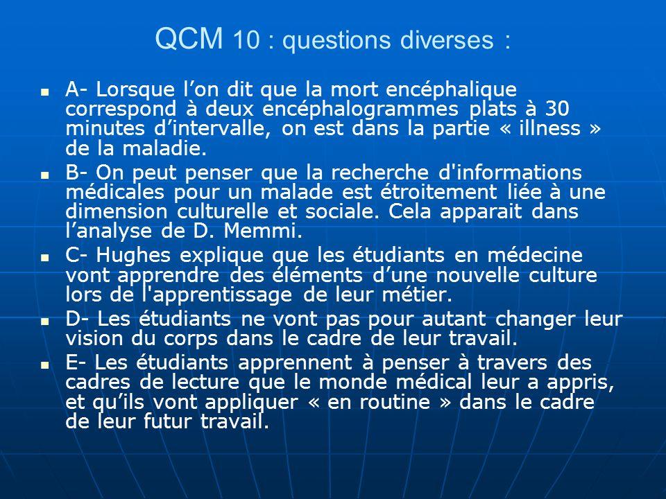 QCM 10 : questions diverses : A- Lorsque lon dit que la mort encéphalique correspond à deux encéphalogrammes plats à 30 minutes dintervalle, on est da