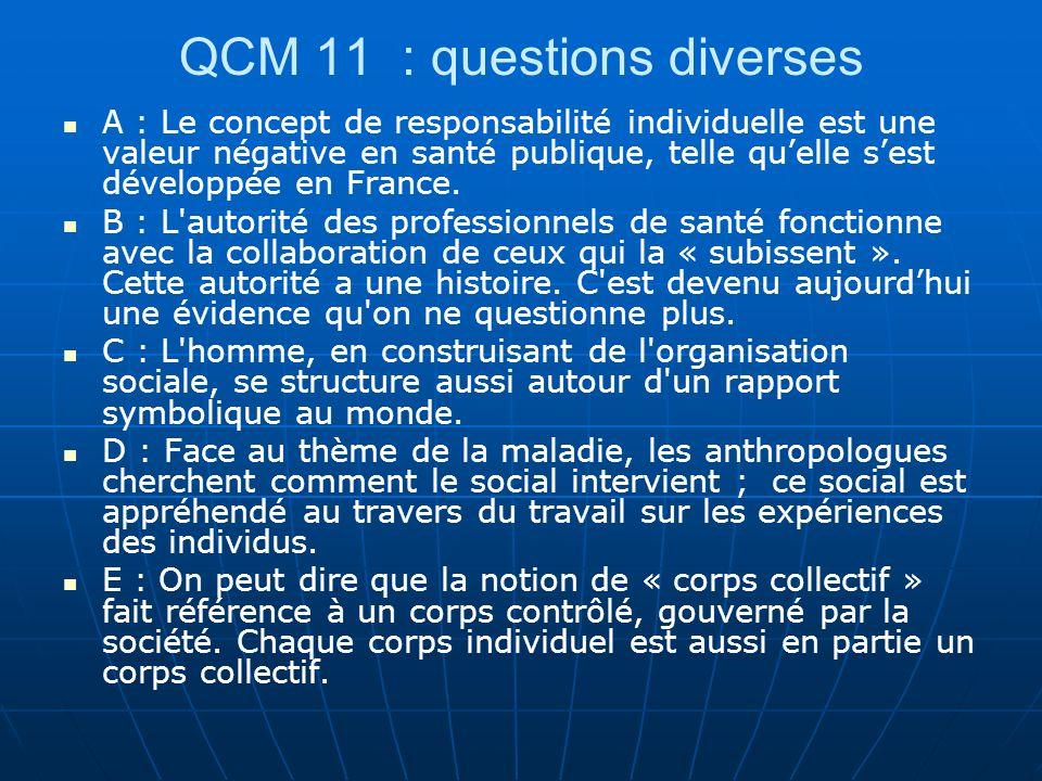 QCM 11 : questions diverses A : Le concept de responsabilité individuelle est une valeur négative en santé publique, telle quelle sest développée en F