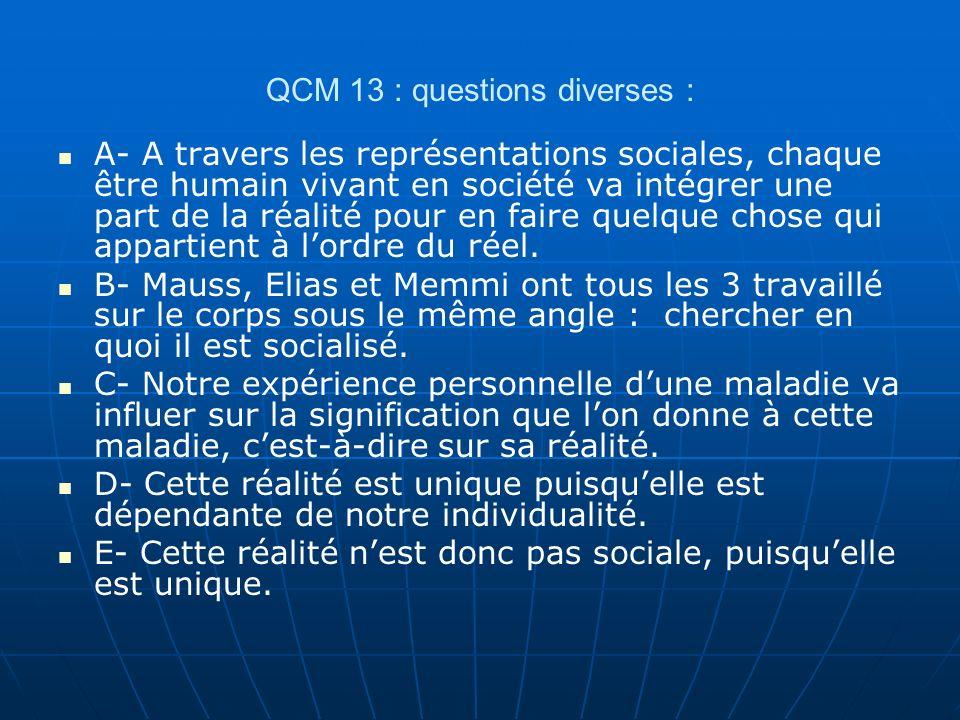QCM 13 : questions diverses : A- A travers les représentations sociales, chaque être humain vivant en société va intégrer une part de la réalité pour