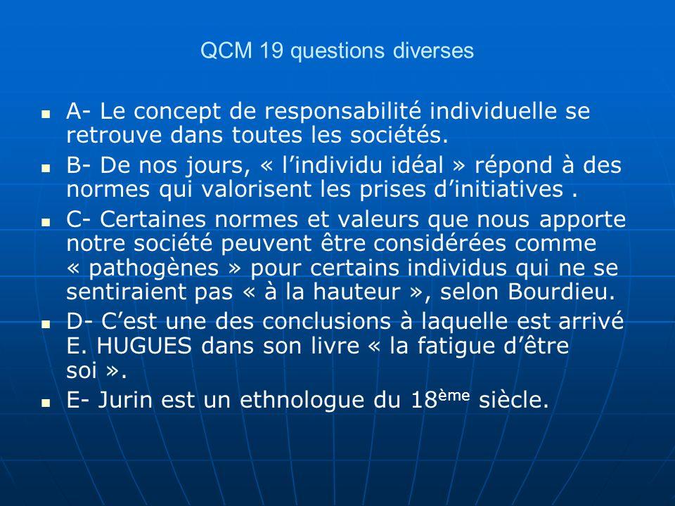 QCM 19 questions diverses A- Le concept de responsabilité individuelle se retrouve dans toutes les sociétés. B- De nos jours, « lindividu idéal » répo