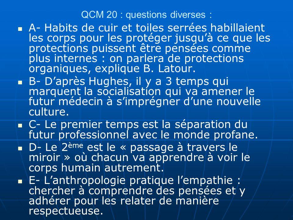 QCM 20 : questions diverses : A- Habits de cuir et toiles serrées habillaient les corps pour les protéger jusquà ce que les protections puissent être