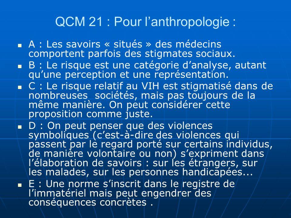 QCM 21 : Pour lanthropologie : A : Les savoirs « situés » des médecins comportent parfois des stigmates sociaux. B : Le risque est une catégorie danal