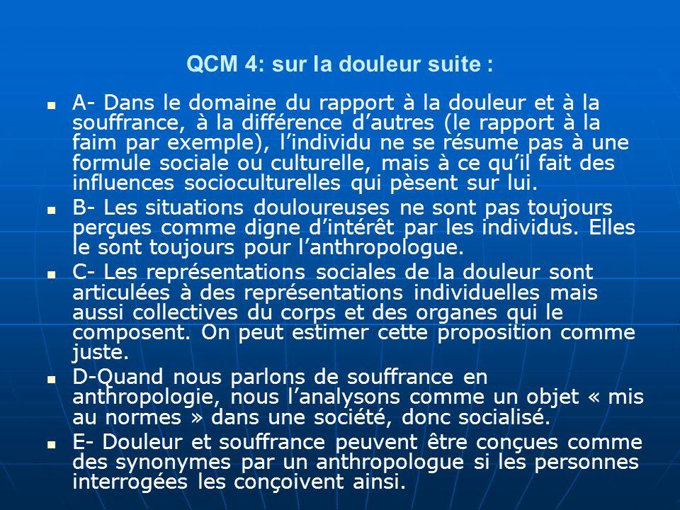 QCM 4: sur la douleur suite : A- Dans le domaine du rapport à la douleur et à la souffrance, à la différence dautres (le rapport à la faim par exemple