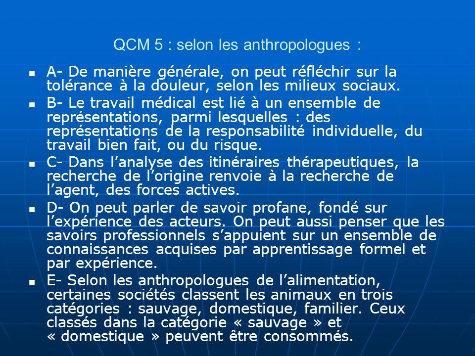 QCM 5 : selon les anthropologues : A- De manière générale, on peut réfléchir sur la tolérance à la douleur, selon les milieux sociaux. B- Le travail m