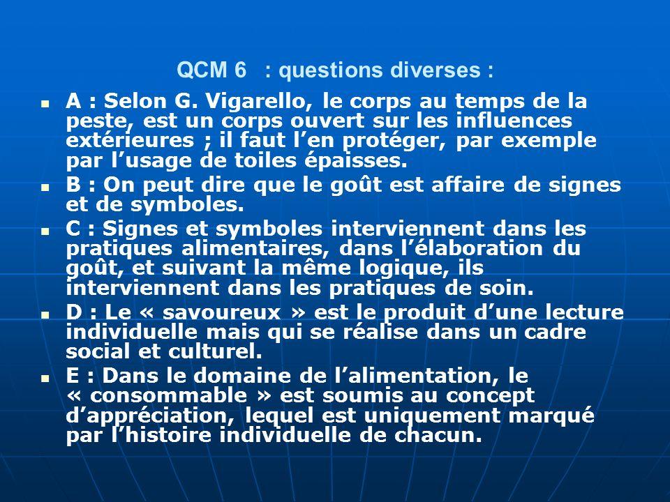QCM 6 : questions diverses : A : Selon G. Vigarello, le corps au temps de la peste, est un corps ouvert sur les influences extérieures ; il faut len p