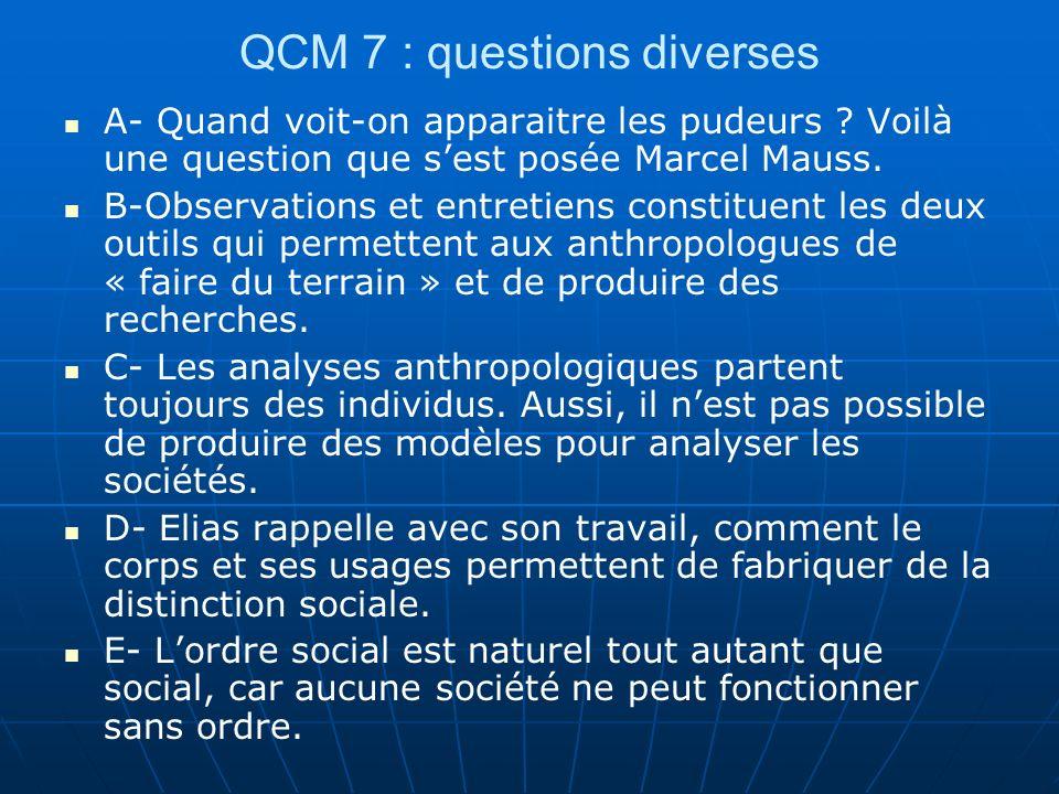 QCM 7 : questions diverses A- Quand voit-on apparaitre les pudeurs ? Voilà une question que sest posée Marcel Mauss. B-Observations et entretiens cons