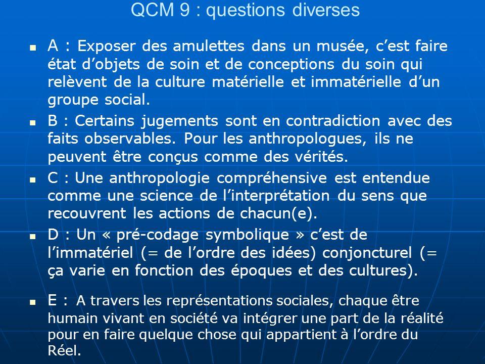 QCM 9 : questions diverses A : Exposer des amulettes dans un musée, cest faire état dobjets de soin et de conceptions du soin qui relèvent de la cultu