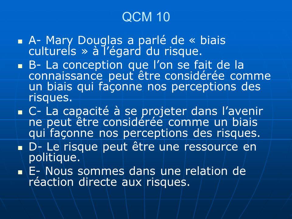 QCM 10 A- Mary Douglas a parlé de « biais culturels » à légard du risque. B- La conception que lon se fait de la connaissance peut être considérée com