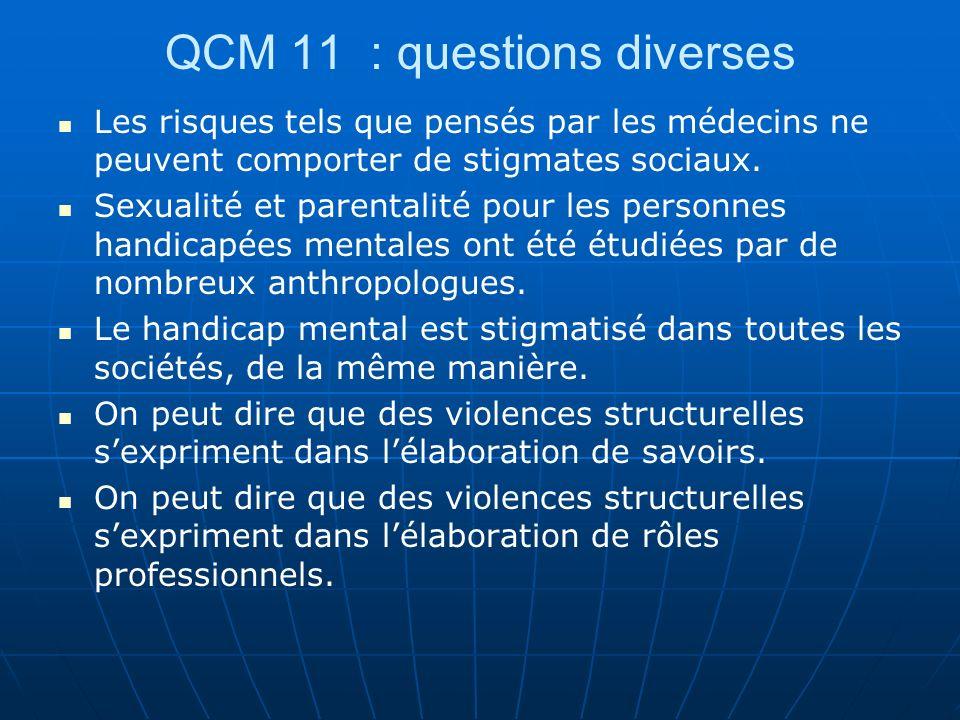 QCM 11 : questions diverses Les risques tels que pensés par les médecins ne peuvent comporter de stigmates sociaux. Sexualité et parentalité pour les