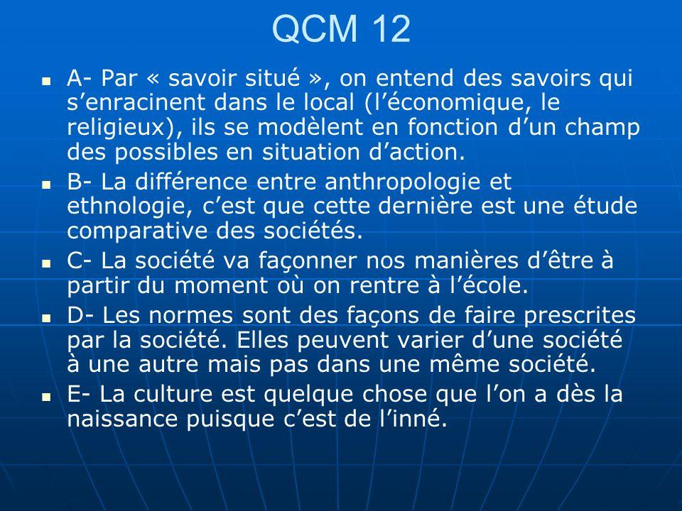 QCM 12 A- Par « savoir situé », on entend des savoirs qui senracinent dans le local (léconomique, le religieux), ils se modèlent en fonction dun champ