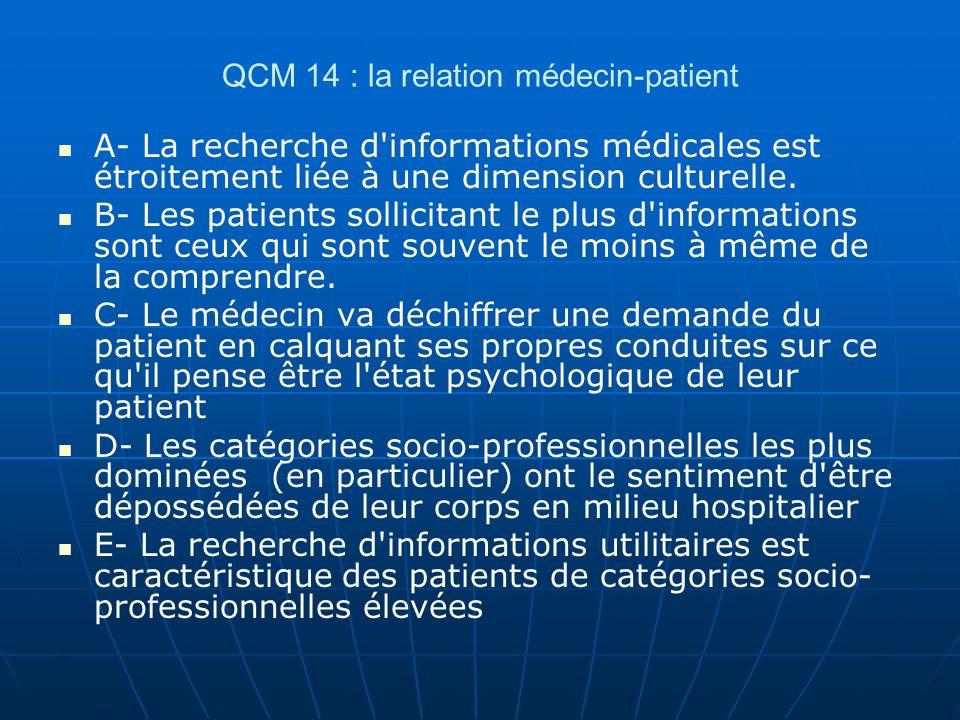 QCM 14 : la relation médecin-patient A- La recherche d'informations médicales est étroitement liée à une dimension culturelle. B- Les patients sollici