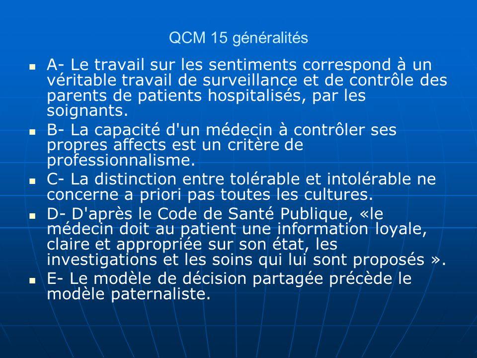 QCM 15 généralités A- Le travail sur les sentiments correspond à un véritable travail de surveillance et de contrôle des parents de patients hospitali