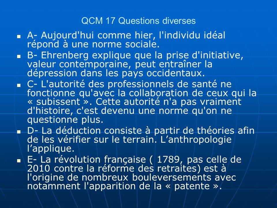 QCM 17 Questions diverses A- Aujourd'hui comme hier, l'individu idéal répond à une norme sociale. B- Ehrenberg explique que la prise d'initiative, val