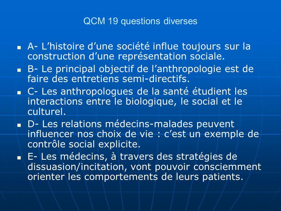 QCM 19 questions diverses A- Lhistoire dune société influe toujours sur la construction dune représentation sociale. B- Le principal objectif de lanth