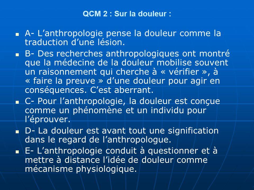 QCM 3 Pour lanthropologie : A- Cest le point de vue des acteurs qui nous intéresse, ce que nous appelons les catégories « émic ».