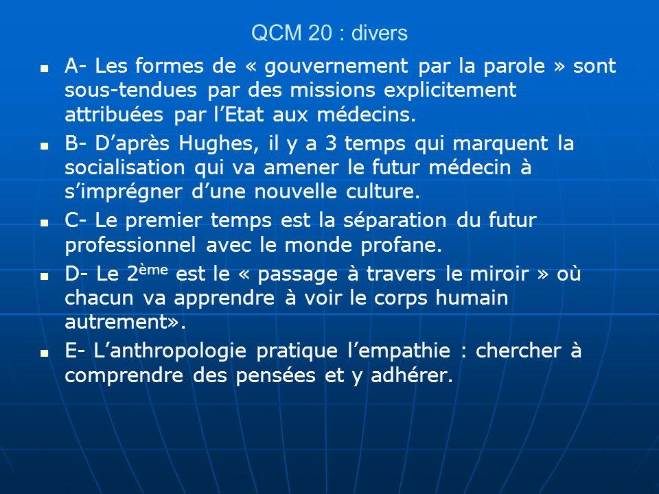 QCM 20 : divers A- Les formes de « gouvernement par la parole » sont sous-tendues par des missions explicitement attribuées par lEtat aux médecins. B-