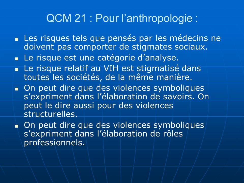 QCM 21 : Pour lanthropologie : Les risques tels que pensés par les médecins ne doivent pas comporter de stigmates sociaux. Le risque est une catégorie