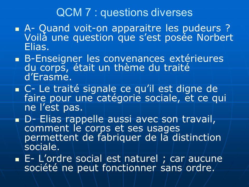 QCM 7 : questions diverses A- Quand voit-on apparaitre les pudeurs ? Voilà une question que sest posée Norbert Elias. B-Enseigner les convenances exté