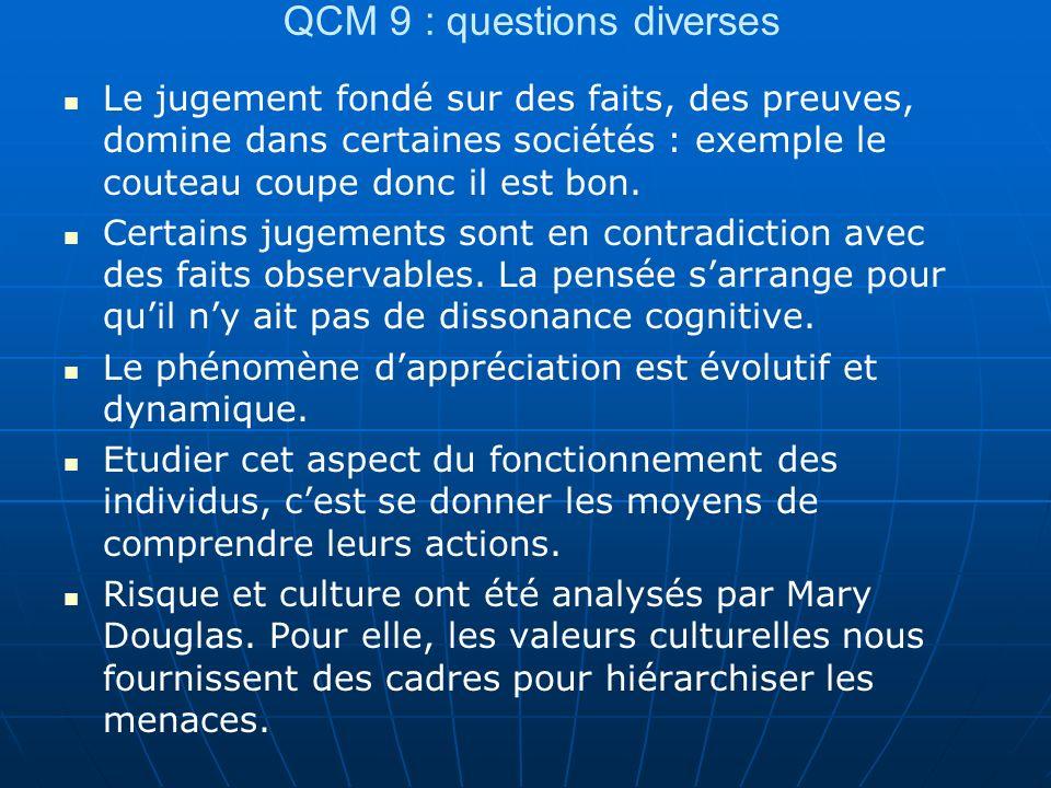 QCM 9 : questions diverses Le jugement fondé sur des faits, des preuves, domine dans certaines sociétés : exemple le couteau coupe donc il est bon. Ce