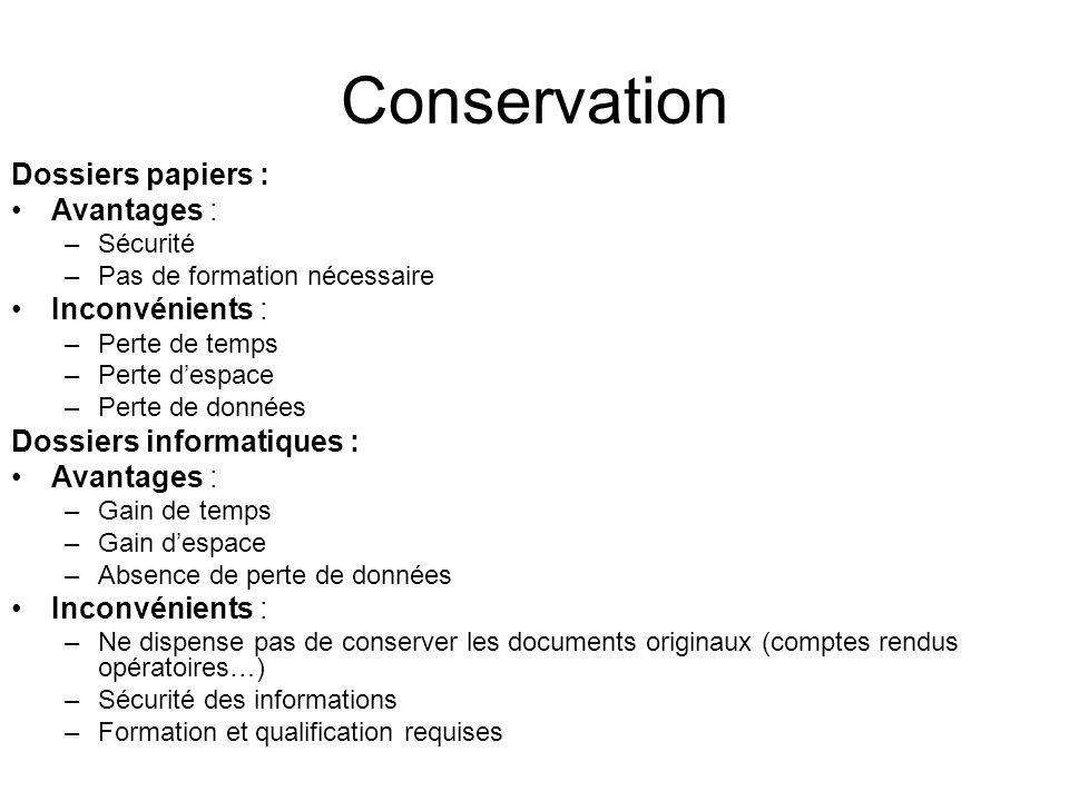Conservation Dossiers papiers : Avantages : –Sécurité –Pas de formation nécessaire Inconvénients : –Perte de temps –Perte despace –Perte de données Do