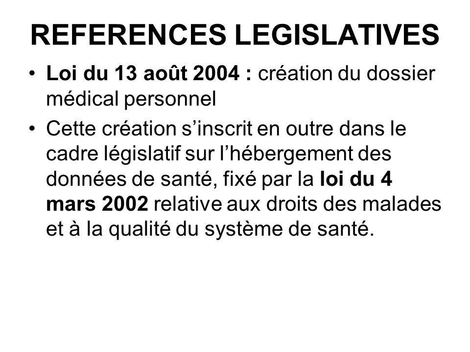 REFERENCES LEGISLATIVES Loi du 13 août 2004 : création du dossier médical personnel Cette création sinscrit en outre dans le cadre législatif sur lhéb