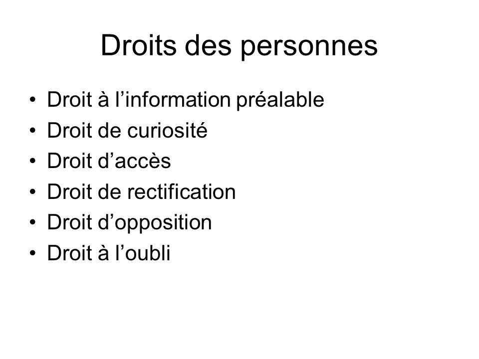 Droits des personnes Droit à linformation préalable Droit de curiosité Droit daccès Droit de rectification Droit dopposition Droit à loubli