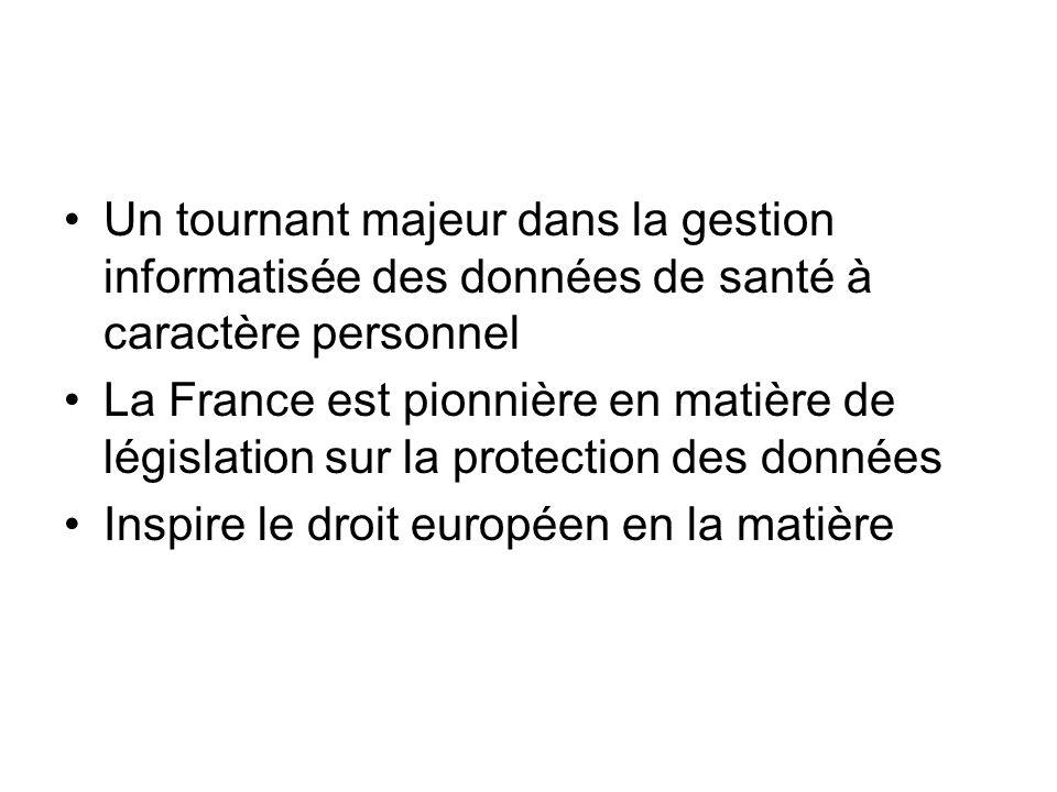 Un tournant majeur dans la gestion informatisée des données de santé à caractère personnel La France est pionnière en matière de législation sur la pr