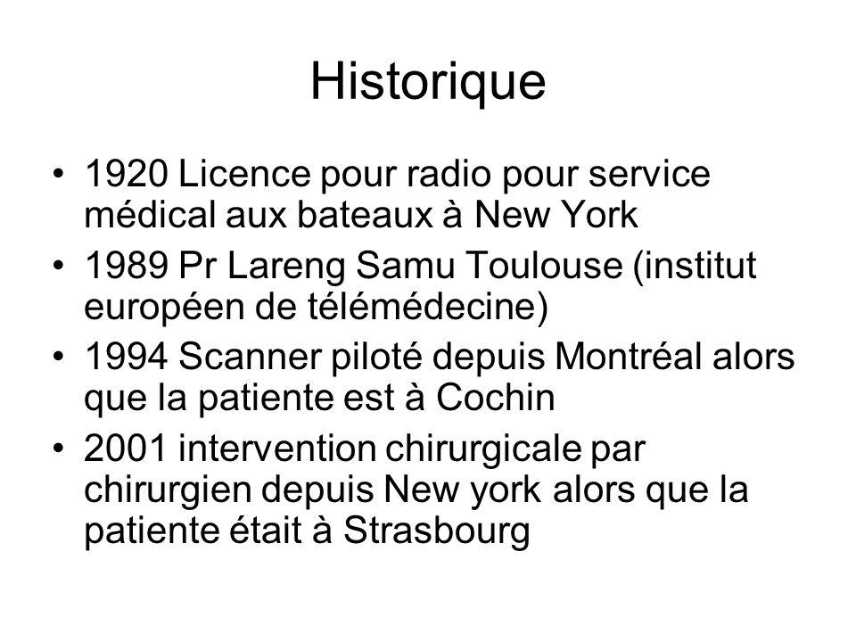 Historique 1920 Licence pour radio pour service médical aux bateaux à New York 1989 Pr Lareng Samu Toulouse (institut européen de télémédecine) 1994 S