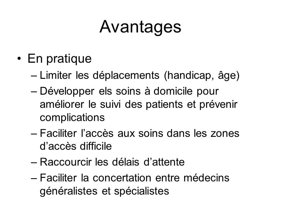 Avantages En pratique –Limiter les déplacements (handicap, âge) –Développer els soins à domicile pour améliorer le suivi des patients et prévenir comp