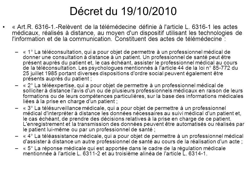 Décret du 19/10/2010 « Art.R. 6316-1.-Relèvent de la télémédecine définie à l'article L. 6316-1 les actes médicaux, réalisés à distance, au moyen d'un